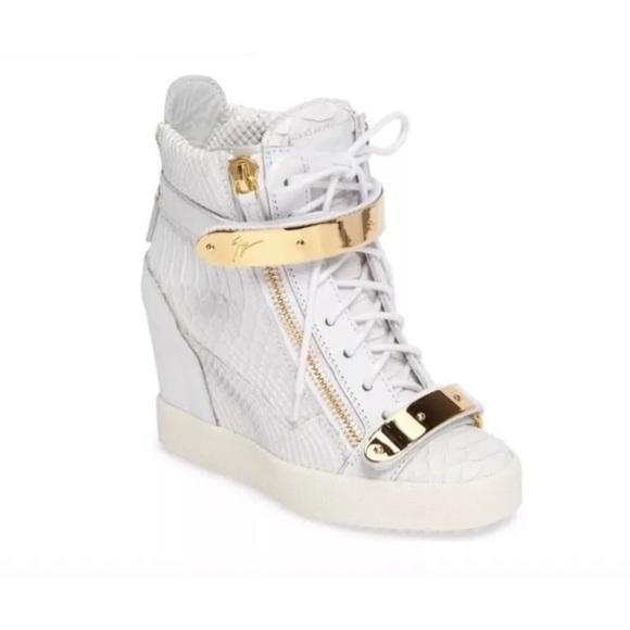 c2a8b2f987ec Giuseppe Zanotti croc white wedge sneakers